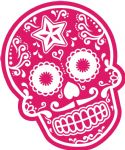 Mexican Day Of The Dead SUGAR SKULL In Magenta & White External Vinyl Car Sticker 120x90mm